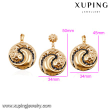 64014- Xuping Jewellery Set Gold Dubai Cheap Bridal Wedding Jewellery Designs