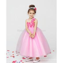 Pink A-Line Zipper Back Flower Appliques Atacado Customized Flower Girl Dress Vestidos FGZ39 Vestidos para meninas de 10 anos