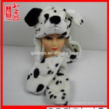 Animal de pelúcia em forma de luvas de cachecol de brinquedo de cão e chapéu para crianças e adultos