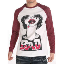 Cool Men Screen Printed Fashion Cotton Wholesale Long Sleeve T Shirt