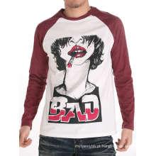 Homens frescos tela impressa moda algodão atacado manga longa camiseta