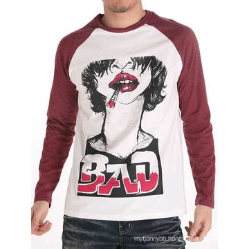 Cool Men Screen Printed Fashion Cotton Wholesale Long Sleeve T Shirt