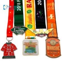 Factory custom made zinc alloy enamel commemorative souvenir gold metal race award sport marathon running medal with 3d logo