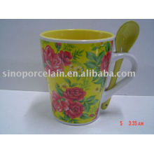 special drum ceramic flower drink cup with spoon for BS93087