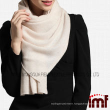 Customized Design Lady's 100% Cashmere Solid Beige Triangular Scarves Knitting