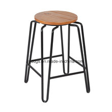 Taburete de madera asiento hierro tubo alta ronda Bar