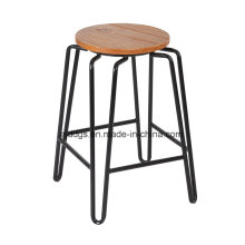 Wooden Seat Iron Tube High Round Bar Stool