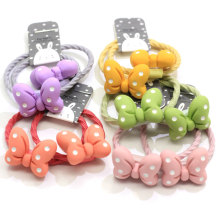 2Pcs/Set Cute Polka Dot Bow Ponytail Holders Pastel Color Elastic Hair Ties Baby Girl Infant Toddlers Ponytail Holders