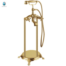 KFT-02J golden finish clawfoot floor mounted free standing tub faucet, luxury free standing brass telephone shower tap