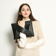 Evening Black Leather Envelope Ladies Vintage Clutch Bag