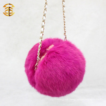 2017 New Style Fashionable Genuine Fox Pom Pom Fur Bag