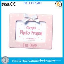 Home Decoration Pink Polka DOT Keramik niedlichen Fotorahmen