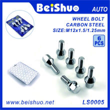 6 PCS Hexagon Carbon Steel Wheel Hub Bolt Set