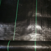 Black PP woven weed barrier mat for agriculture garden use