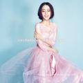 Dulce niñas rosa romántico media manga vestido de fiesta vestido de noche