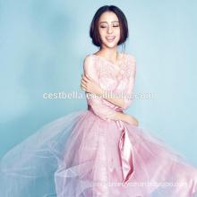 Sweet Girls Pink Romantic Half Sleeve Prom Dress Evening Dress