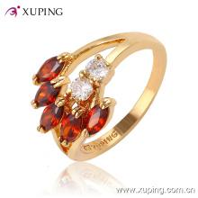 Moda elegante en forma de hoja CZ Crysral 18k anillo de la joyería chapado en oro -11410