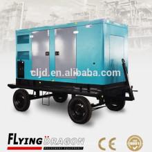 El precio silencioso 120kw del generador portable Cheap150kva cuatro ruedas silenciosa planta de energía móvil con el motor de los cummins para la venta