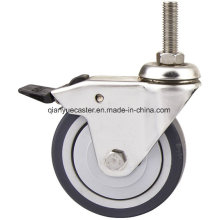 European Type Thermoplastic Rubber Light Duty Caster with Brake