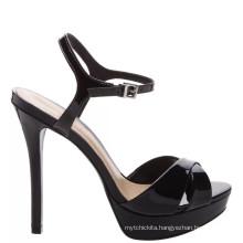 2018 new arrival modern classic black platform sandals