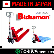 JIS certified durable Bishamon series hand pallet truck. Manufactured by Sugiyasu. Made in Japan (hand truck with motor)