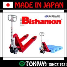 JIS certificou um caminhão de paletes manual Bishamon série durável e fácil de usar. Fabricado por Sugiyasu. Feito no Japão (Sugiyama lift)