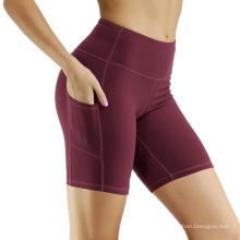 Pantalones cortos de yoga no transparentes de bolsillo