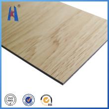 Revestimento de parede, painel composto de alumínio com superfície de madeira
