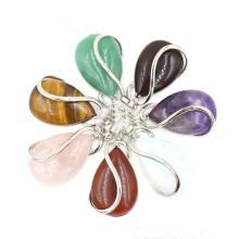 Natural Gemstone Waterdrop Chakra Charms Pendant