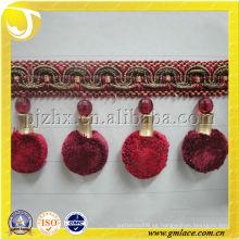 Made in China Cortina decorativa bordes borla borla para el hogar y decoración de textiles