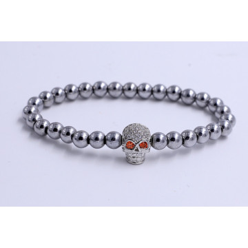 Customized for Wholesale Bead Bracelet Handmade Stainless Steel Skull Charm Beads Bracelets export to Japan Factories