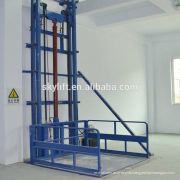 5m hydraulischer Lastenaufzug-Vertikallager-Frachtaufzug-Führungsschienen-Aufzug-Tabellen
