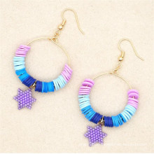 Summer Beach Style Rainbow Soft Clay Earrings Female Miyuki Hand-Woven Six-Pointed Star Earring