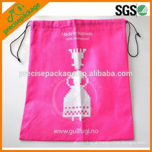 Saco de cordão não tecido do presente relativo à promoção cor-de-rosa QUENTE