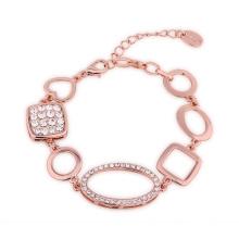 Le plus récent design 18k Eco-Fridendly Rose Gold Crystal Forme géométrique Charm Bracelet Bijoux