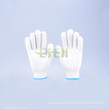 7 Pins Natural White Cotton Gloves for Construction, Winter Knitted Cotton Gloves