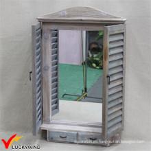 Handcrafted Shabby Farming Espejo de madera de forma de ventana de madera con dos cajones
