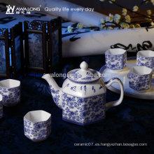 Azul y blanco de diseño chino conjunto de té con la tapa de olla y taza