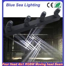 4pcs x 10W RGBW 4in1 levou mini feixe lavagem mover cabeça