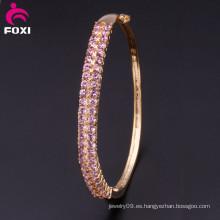 Pink Zirconia Pulsera de Piedra Brillante con incrustaciones redondas sueltas