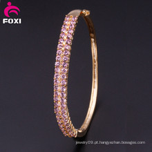 Pink Pedra Cobre Moda Charm Bangles for Girls Party