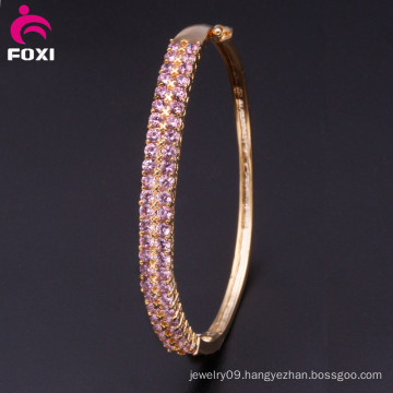Pink Stone Copper Fashion Charm Bangles for Girls Party