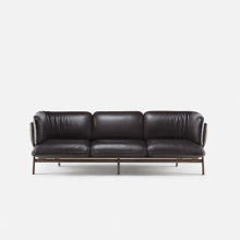 Solid Wood Stanley 3-Seater Leather Sofa