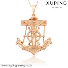 Mode Xuping Rose Plaqué Or Jésus Croix Imitation Bijoux Pendentif-32564