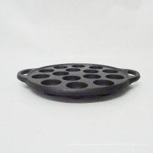 Venta al por mayor esmalte 19 agujeros para hornear molde redondo molde de pastel de hierro fundido