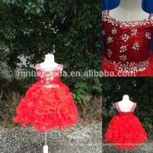 Fotos reais 2014 Venda quente Vestido de gola de lantejoulas vermelhas Vestidos de meninas Vestido quadrado de borracha com enrutador de pelúcia Organza NB0501