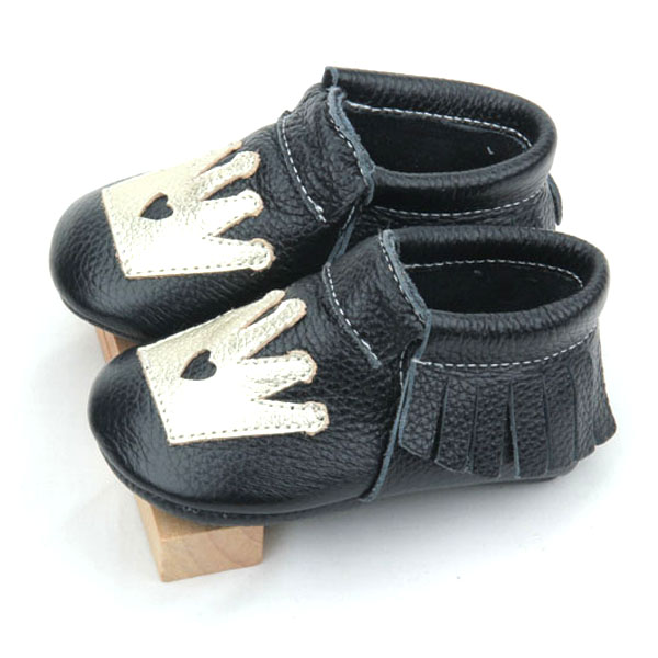 Genuine Leather Crown Unisex Baby Moccasins Shoes