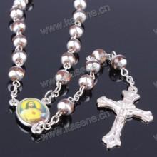 Bela 6 milímetros muitas cores de vidro rodada grânulo Rosário colar, Rosário religioso