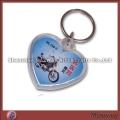 Lovely transparent polished heart shaped promotional acrylic/lucite keychain/key ring/key holder wit
