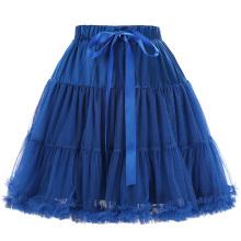 Белль некоторые из них имеют роскошный 3 слоя мягкий тюль сетка юбка синий Кринолин Подъюбник для Ретро платья BP000226-4
